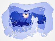 Vector Halloween illustration with castle and graves. 3d layered stylization. Vector Halloween illustration with castle and graves on the night sky background Royalty Free Stock Photos