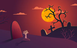 Vector Halloween illustration cemetery at night. Halloween vector poster illustration with cemetery at night Royalty Free Stock Photography