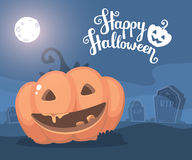 Vector halloween illustration of decorative orange pumpkin with. Eyes, smile, full moon, headstone at the cemetery and text happy halloween. Flat style design stock illustration
