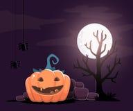 Vector halloween illustration of decorative orange pumpkin. With eyes, smile, teeth, spiders, tree, moon on night background. Flat style design for halloween royalty free illustration