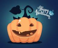 Vector halloween illustration of decorative orange pumpkin with. Eyes, smiles, teeth and text happy halloween on dark blue gradient background. Flat style vector illustration