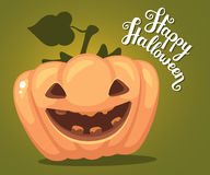 Vector halloween illustration of decorative orange pumpkin with. Eyes, smiles, teeth and text happy halloween on green gradient background. Flat style design vector illustration