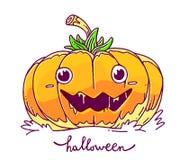 Vector halloween illustration of decorative orange pumpkin with. Eyes, smile, saliva and word halloween on white background. Line art style design for halloween vector illustration