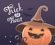 Vector halloween illustration of decorative orange pumpkin in wi. Tch hat with eyes, smile, teeth, bats and text trick or treat on light background. Flat style royalty free illustration