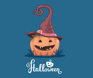 Vector halloween illustration of decorative orange pumpkin in wi. Tch hat with eyes, smile, teeth and text halloween on blue background. Flat style design for stock illustration