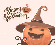 Vector halloween illustration of decorative orange pumpkin. In witch hat with eyes, smile, teeth and text happy halloween on light background. Flat style design vector illustration