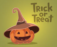 Vector halloween illustration of decorative orange pumpkin. In witch hat with eyes, smile, teeth and text trick or treat on green background. Flat style design royalty free illustration