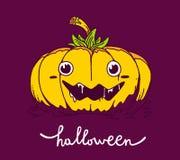 Vector halloween illustration of decorative yellow color pumpkin. On dark purple background with eyes, smile, saliva and word halloween. Line art style design vector illustration