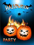 Vector Halloween illustration with flame, pumpkins head and text Halloween Party. Royalty Free Stock Image