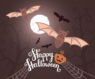 Vector halloween illustration with flying bats on moonlit night Royalty Free Stock Images