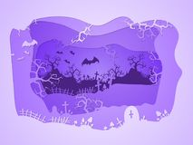 Vector Halloween illustration with graves. 3d layered stylization. Stock Photo
