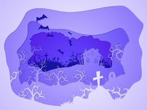 Vector Halloween illustration with graves and  house. 3d layered stylization. Vector Halloween illustration with graves and  house on the night sky background Royalty Free Stock Photos