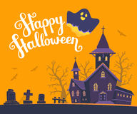 Vector halloween illustration of haunted house, cemetery, bats o. N orange background with trees, text, ghost. Flat style design of scary castle for halloween Royalty Free Stock Images