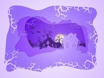 Vector Halloween illustration with house and graves. 3d layered stylization. Vector Halloween illustration with house and graves on the night sky background Stock Photography