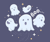Vector halloween illustration of many white flying ghosts with e Stock Images
