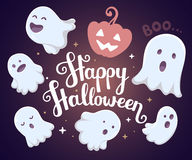 Vector halloween illustration of many white flying ghosts  Royalty Free Stock Photography