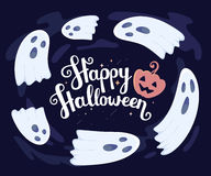 Vector halloween illustration of many white flying ghosts Stock Photography