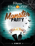Vector Halloween illustration on a Monster Party t Royalty Free Stock Photography