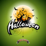 Vector Halloween illustration with pumpkin on green background. Graves, bats and moon. Royalty Free Stock Images