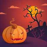 Vector Halloween illustration with Pumpkin Head. Halloween vector poster with Pumpkin Head in the night Royalty Free Stock Photos