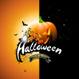 Vector Halloween illustration with pumpkin and moon on orange background. Graves and bats. Stock Photography