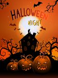 Vector Halloween illustration with  pumpkins head, house, bats and text. Royalty Free Stock Image