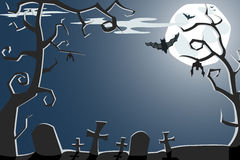 Vector Halloween illustration of scary cemetery. Vector Halloween illustration of a scary night cemetery with full moon and bats Stock Photos