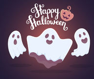 Vector halloween illustration of white flying three ghosts with Royalty Free Stock Photo