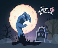 Vector halloween illustration of zombie hand in a graveyard with Royalty Free Stock Photography
