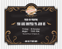 Vector,Halloween invitation card to party with vintage ornament Stock Image