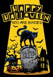 Halloween invitation design with cat standing on the top of tomb royalty free illustration