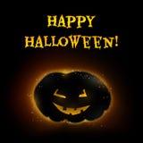 Vector Halloween-Kartenkürbis in der Hintergrundbeleuchtung mit glühenden Augen und Mund und Höhepunkte Stockfoto