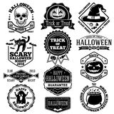 Vector Halloween labels, badges set. With kcull, pumpkin, cat, bats, ghost, candies etc. Stock Image