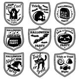 Vector Halloween labels set. With pumpkin, skull, ghost, cauldron, bat, witch hat, cat etc. Royalty Free Stock Images