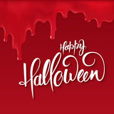 Vector halloween lettering greetings label - happy halloween - on red bloody drips.  Stock Images