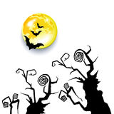 Vector halloween night moon horror bat background Stock Images