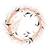 Vector Halloween orange wreath vector illustration