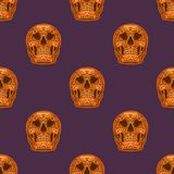 Orange sugar skull on purple background. Vector seamless pattern. Vector  halloween ornament with orange skulls for wrapping paper and other decoration Stock Photos