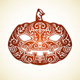 Vector Halloween ornate pumpkin. Vector Happy Halloween template with ornate pumpkin Royalty Free Stock Photography