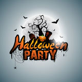 Vector Halloween Party Design with typographic elements and pumpkin on grey background. Graves, bats and moon. Royalty Free Stock Photography