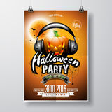Vector Halloween Party Flyer Design with pumpkin and headphone on orange background. Bats and moon. Stock Photos