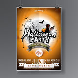 Vector Halloween  Party Flyer Design with typographic elements on orange  Royalty Free Stock Image