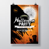 Vector Halloween Party Flyer Design with typographic elements on orange  Stock Image