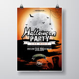 Vector Halloween Party Flyer Design with typographic elements on orange background. Graves, bats and moon. Stock Photos