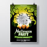 Vector Halloween Party Flyer Design with typographic elements and pumpkin Stock Photos