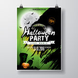 Vector Halloween Party Flyer Design with typographic elements and pumpkin on green background. Graves, bats and moon. Stock Image