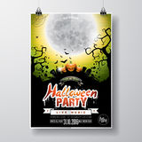 Vector Halloween Party Flyer Design with typographic elements and pumpkin on green background. Graves, bats and moon. Royalty Free Stock Image