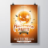 Vector Halloween Party Flyer Design with typographic elements and pumpkin moon on orange background Royalty Free Stock Photo