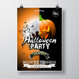 Vector Halloween Party Flyer Design with typographic elements and pumpkin  Royalty Free Stock Photos
