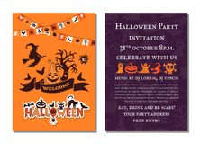Vector halloween party invitation card template Stock Image